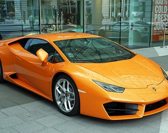 Lamborghini Huracan Orange Vehicle Sport Art Print Wall Decor Image - Unframed Poster
