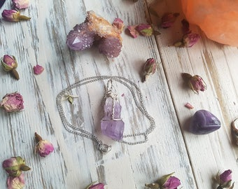 Raw Amethyst crystal point necklace