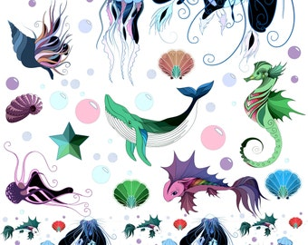 Magical Ocean Life - Ceramic Decals- Enamel Decal - Fusible Decal - Glass Fusing Decal ~ Waterslide Decal - 19502