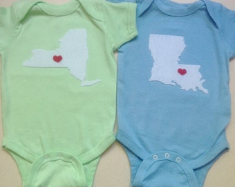 Newborn heart state, baby love state, Any State or Country- Heart at Home Baby Bodysuit