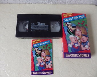 Walt Disney Favorite Stories Home Video: Three Little Pigs. VHS Tape. Tested, Works