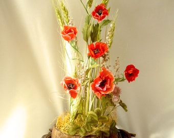Silk poppies etsy silk flowers arrangement red poppies and ears woodland home decor bouquet of silk poppies mightylinksfo