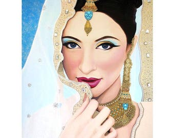 Preeti Sapphire Indian Bride - ART PRINT - 8 x 10 - By Toronto Portrait Artist Malinda Prudhomme