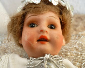 antique,bisque head doll,AM 12/0 Germany,7.5'' Christmas fairy,fixed eyes,open mouth with teeth