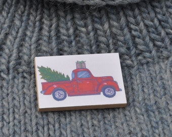 Red Pick-Up Truck Christmas Pin