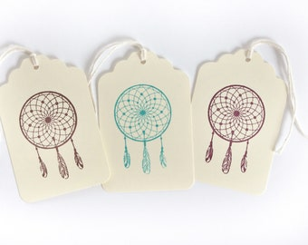 Dream Catcher Tag Set 15 with rope twine boho party favor tags