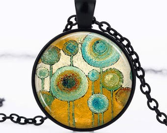 Glass cabochon necklace * abstract * jewelry