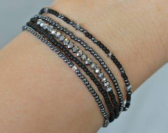 5 bead bracelets, small bead bracelets, silver black navy blue bead bracelets, layering bracelets, stacking bracelets, small bracelets, bead