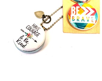 Have Courage and Be Kind Necklace, Magnetic 3 Necklaces in 1, Holds a Picture or Message, Kindness Necklace, Courage Necklace, Polarity