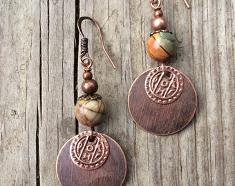Copper earrings, bohemian jewelry, copper jewelry, copper dangle earrings, bohemian earrings, natural stone jewelry