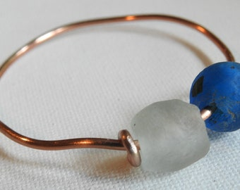 Copper Bracelet, Africa Trade Bead Bangle, Beach Bracelet, Adjustable Bangle, Graduate Gift, Sea Glass Look, Ghana Trade Bead Jewelry