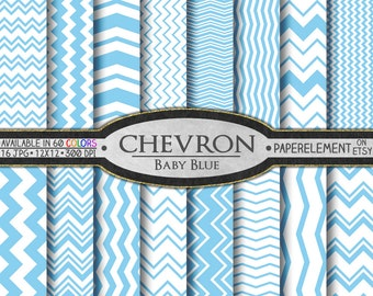 Baby Blue Chevron Digital Paper Pack - Instant Download - Digital Scrapbook Paper with Chevron Background