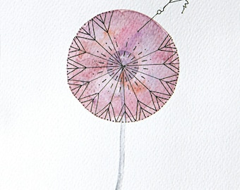 Watercolor painting art giclee print dandelion painting typography make a wish watercolor art home decor by VApinx