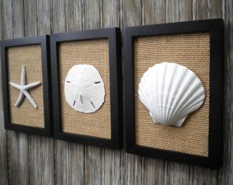 Cottage Chic Set of Beach Decor Wall Art, Bathroom Decor,Beach House Decor,