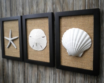 Cottage Chic Set Of Beach Decor Wall Art, Bathroom Decor,Beach House Decor,