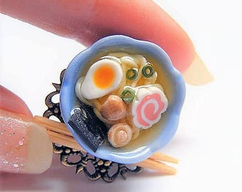 Food Jewelry Ramen Ring, Ramen Soup Ring, Noodle Soup, Chinese Food Ring, Miniature Food Jewellery, Mini Food, Polymer Clay food Ramen Charm