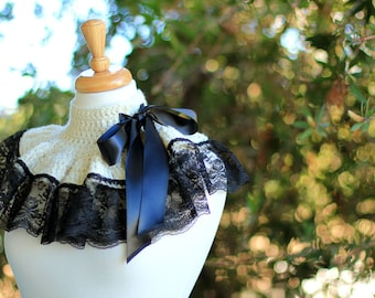 Neck Warmer Ruffle Collar - Ivory with Black Lace - Neo-Victorian