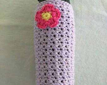 Crochet Water Bottle Cozy with Flower