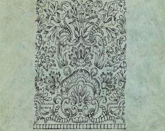 ATC Background Ornate Muslin Embroidery Pattern Georgian Jane Austen Era - Antique Style Clear Stamp