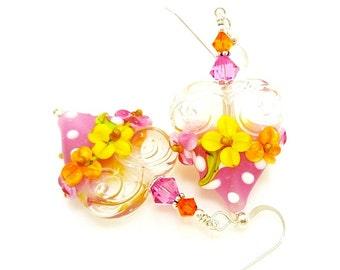 Pink Earrings, Heart Earrings, Valentine Earrings, Floral Earrings, Lampwork Earrings, Polka Dot Earrings, Glass Bead Earrings