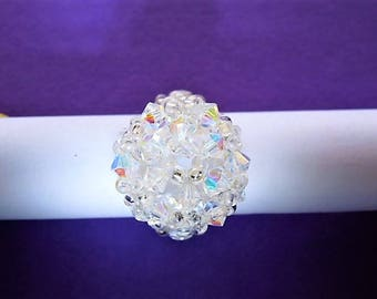 ring cabochon out of crystal color swarovski crystal beads