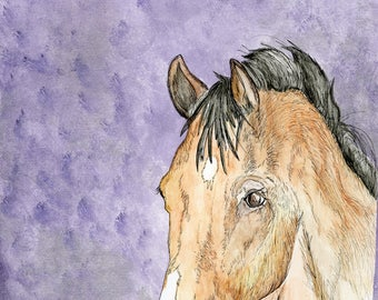 Horse (original watercolor and ink painting)