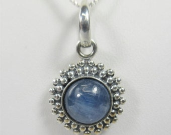 Memorial Day Sale Kyanite 8mm Cabochon Sterling Silver Necklace Pendant
