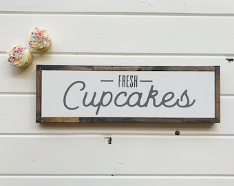 "Fresh Cupcakes | handmade wood sign | 22"" x 7"" 
