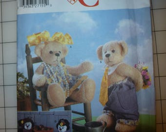 "Retired Simplicity Crafts Pattern 5302  for 14"" Bears and Clothes"