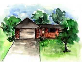 Custom watercolor house painting, custom house illustration, printable custom art, housewarming gift