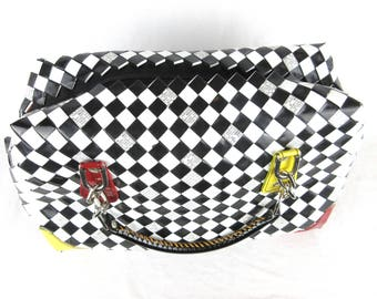 Vintage Candy / Plastic Wrapper, Woven Purse, Black and White Checkerboard / Check, Taxi Cab Colors, Recycled Chic, Handbag, Bag Nahui Ollin