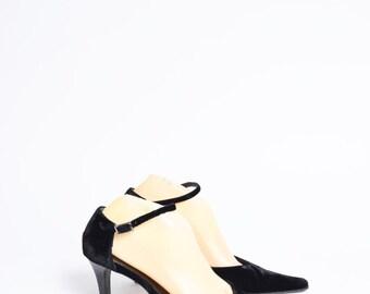 Vintage Black Velvet High Heel Shoes