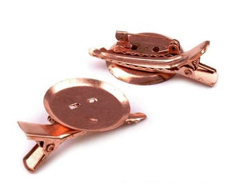 2 clip for hair and brooch in metal copper 25 x 40 mm