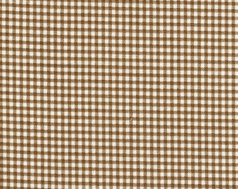 Round Tablecloth Suede Brown Gingham Check