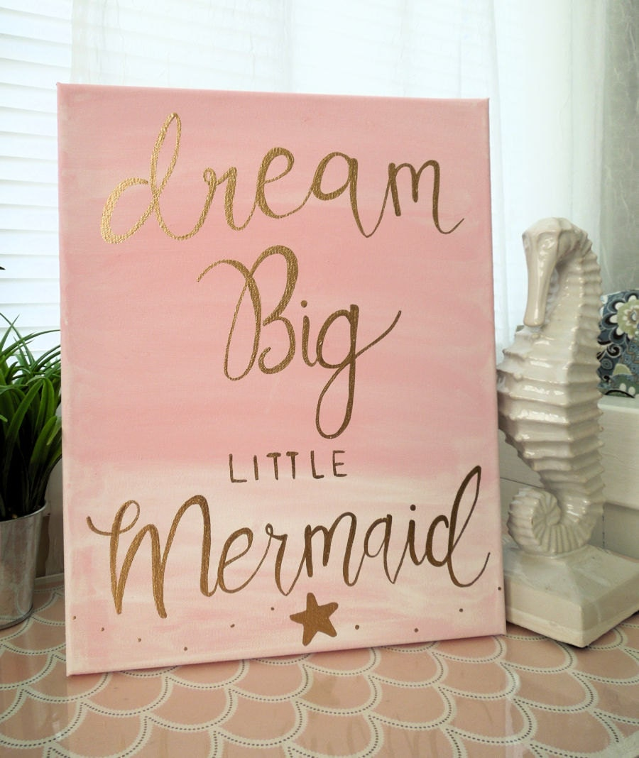 The Little Canvas: Pink Mermaid Nursery Wall Decor 11x14 Canvas Pink And Gold