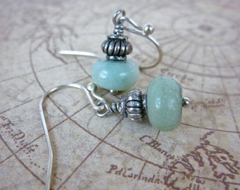 Aquamarine Rondelle and Antiqued Silver Small Button Drops, Gift for Her