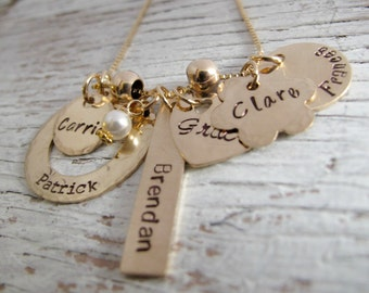 Gold Mother's Necklace, Personalized Jewelry, Grandmother Necklace, Kids Names Necklace, Christmas Gift