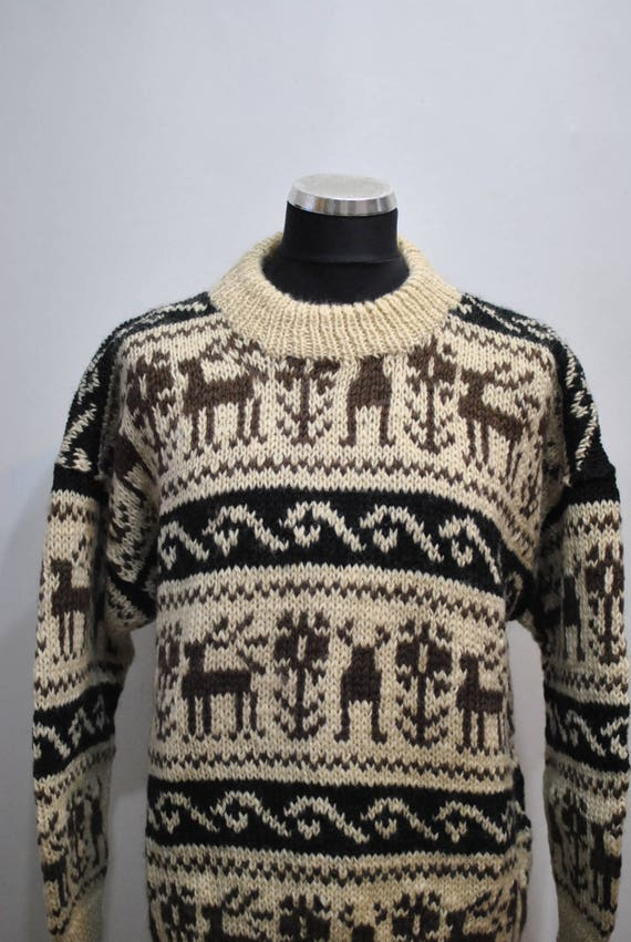PULLOVER hand HANDMADE Vintage pullover 073 WOOL knitted wool zSE4q
