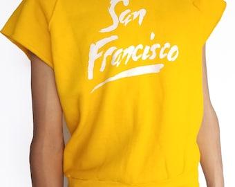 Vintage 1980s Thin Yellow 'San Francisco' Short Sleeve Sweatshirt / Size (S/M/L)