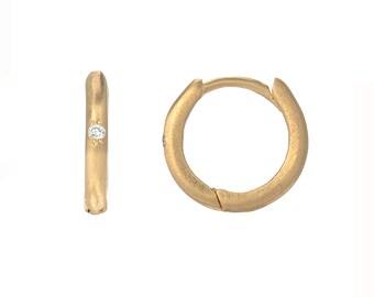 Huggie Hoops, Huggy Hoops, Gold Diamond Huggies, Small Gold Hoops, Delicate Diamond Hoops, Hoop Earrings, Gold Hoops, April Birthstone,NIXIN