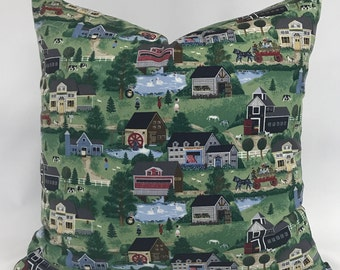 Pillow Cover - Farm House Pillow - Folk Art Design Pillow - Multi colored Pillow - Fully Lined Pillow - Invisible Zippered Pillow -