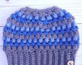 Grey and Blue Messy Bun Beanie Hat, Ponytail Hat, Custom Color Available