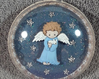 Handmade Angel Ornament Created in a 70mm Acrylic Disc Ornament, Angels