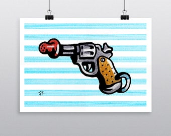 Dummy Gun POP ILLUSTRATION A3 PRINT