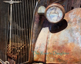 Old Chevy Car,  Rustic Car, New Mexico, Southwest Art, Original Photograph, 5 x 7 Matted Photograph