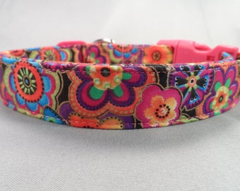 Cute Dog Collar, Dog Days Colorful Flowers Pink and Orange
