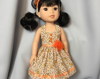 14.5 Inch Doll Clothes Summer Halter Dress with Headband for dolls like Wellie Wishers