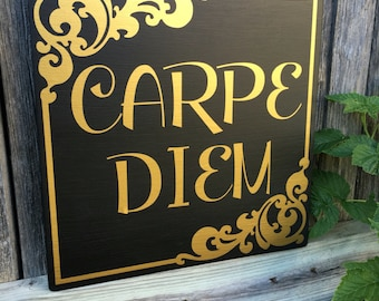 Carpe Diem Seize the Day Quote Wall Art Sign Wood Sign Wall Decor Inspirational Motivational Quote Carpe Diem Wall Art Signage