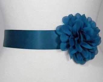 Teal Bridal Sash, Wedding Belt, Bridal Belt, Flower Girl Dress Sash, Bridesmaid Belt, Satin Sash, Wedding Dress Belt, Simple Sash Belt, POSY