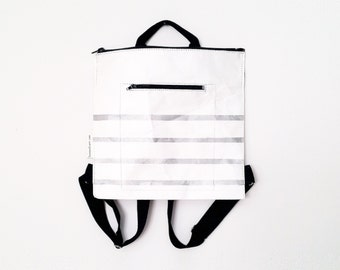 silver stripes bag, eco friendly backpack, School bag, silver stripes, urban chic, Tyvek bag, for mom, gift for her, hand printed, OOAK